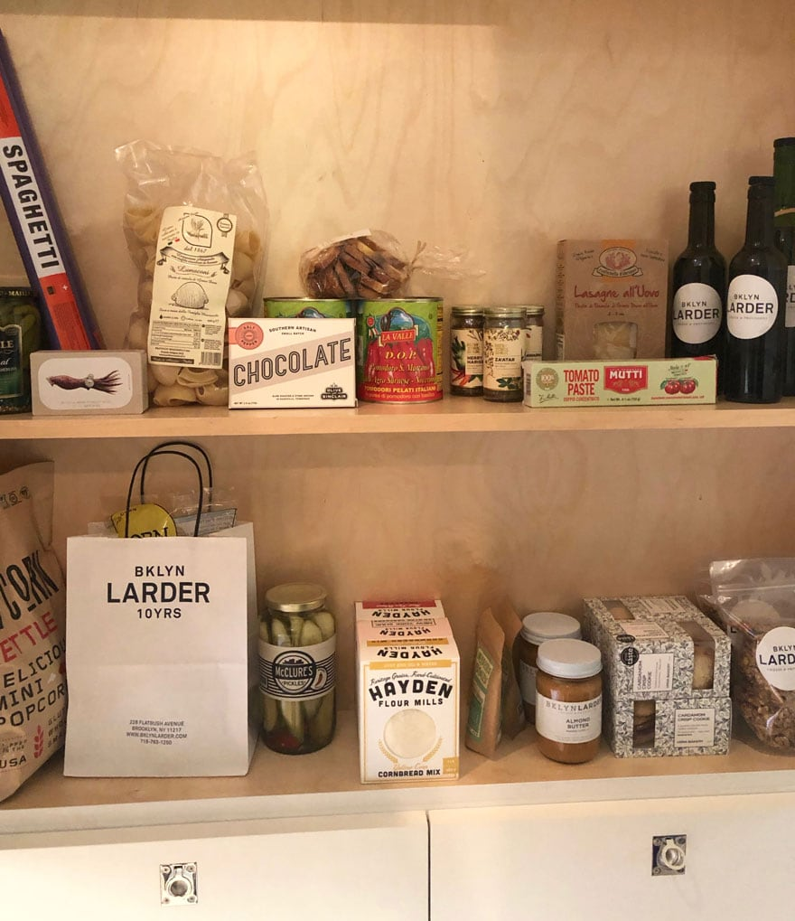 pantry items on shelves