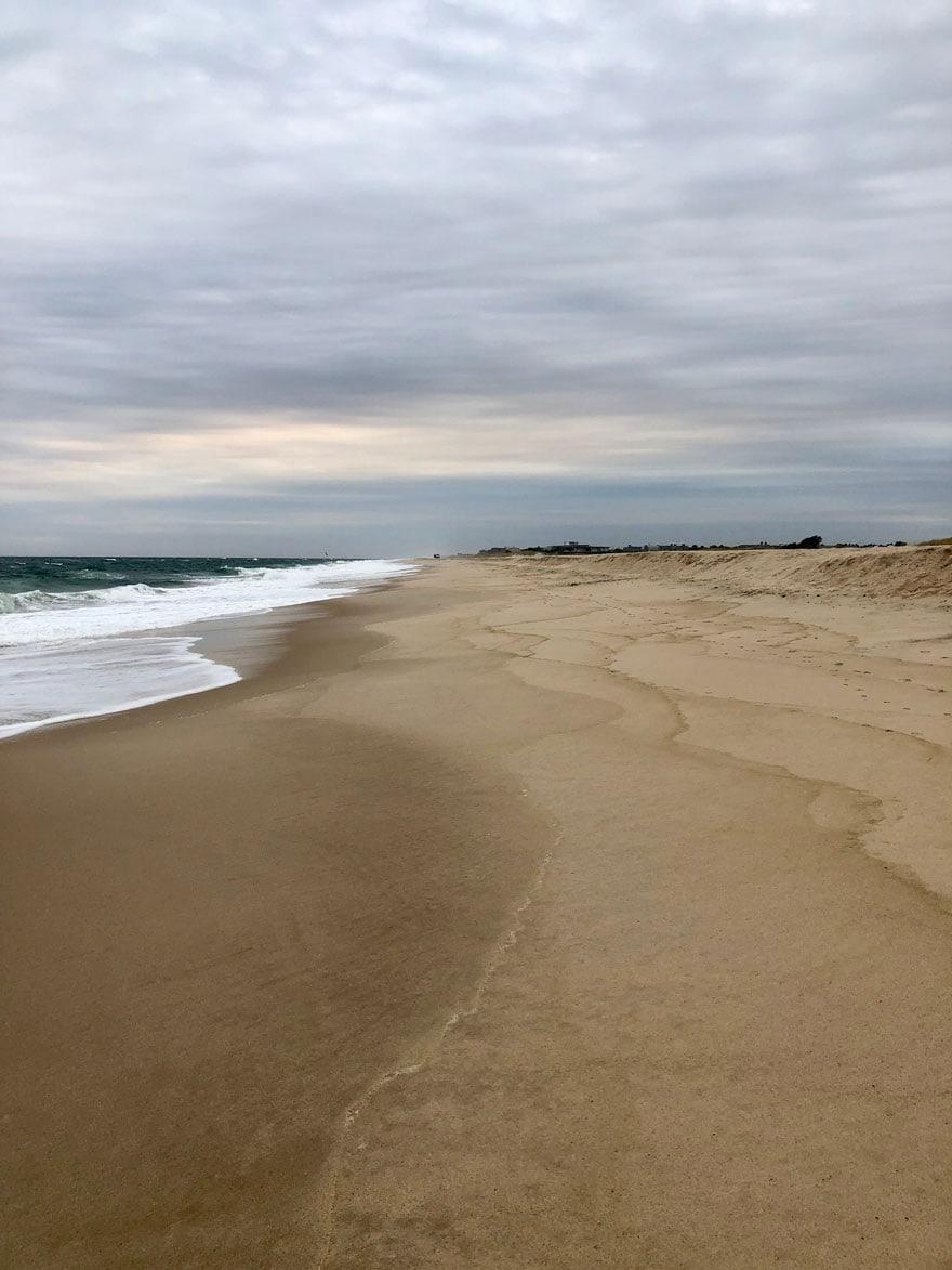 waves, sandy beach, clouds,