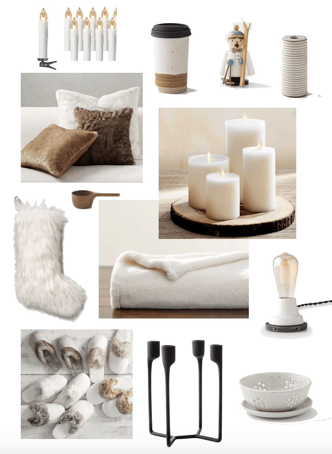 pillows, candles, stocking, coffee scoop, lamp