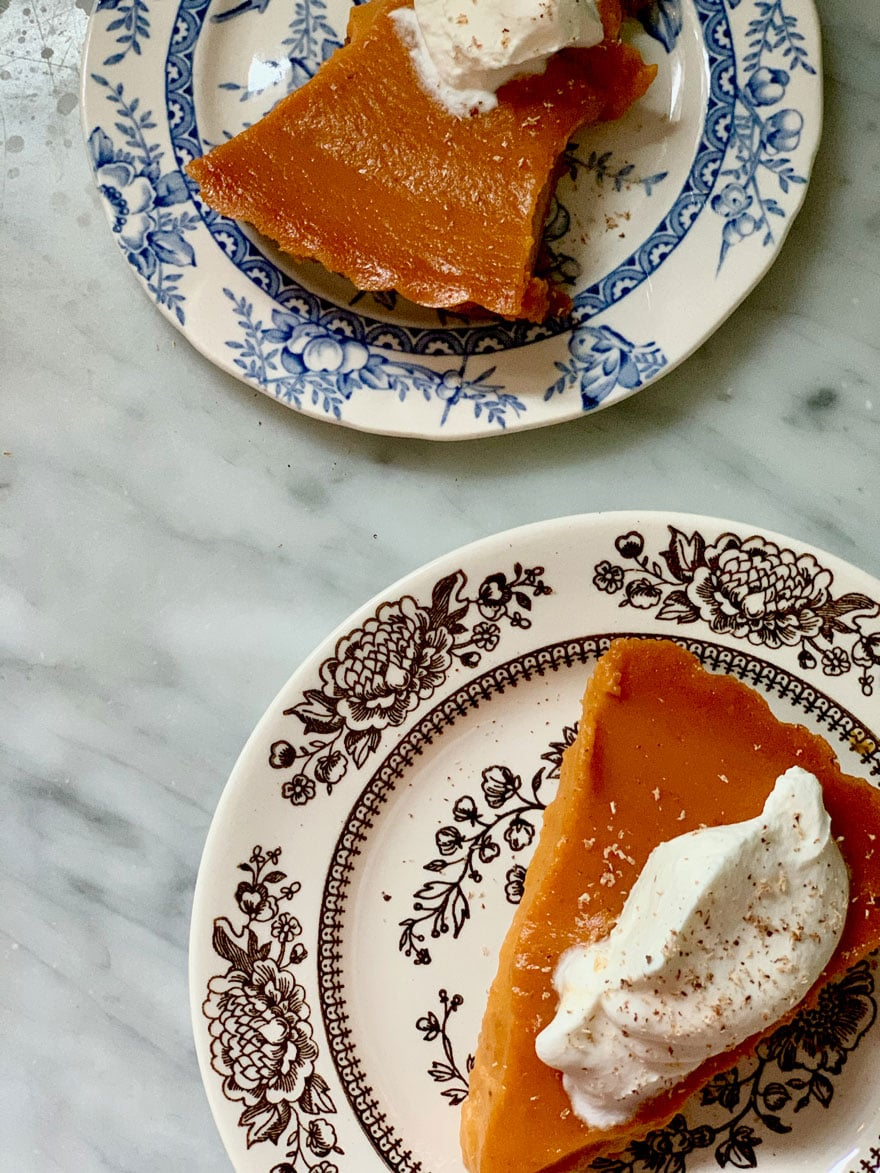 pumpkin pie on patterned plates