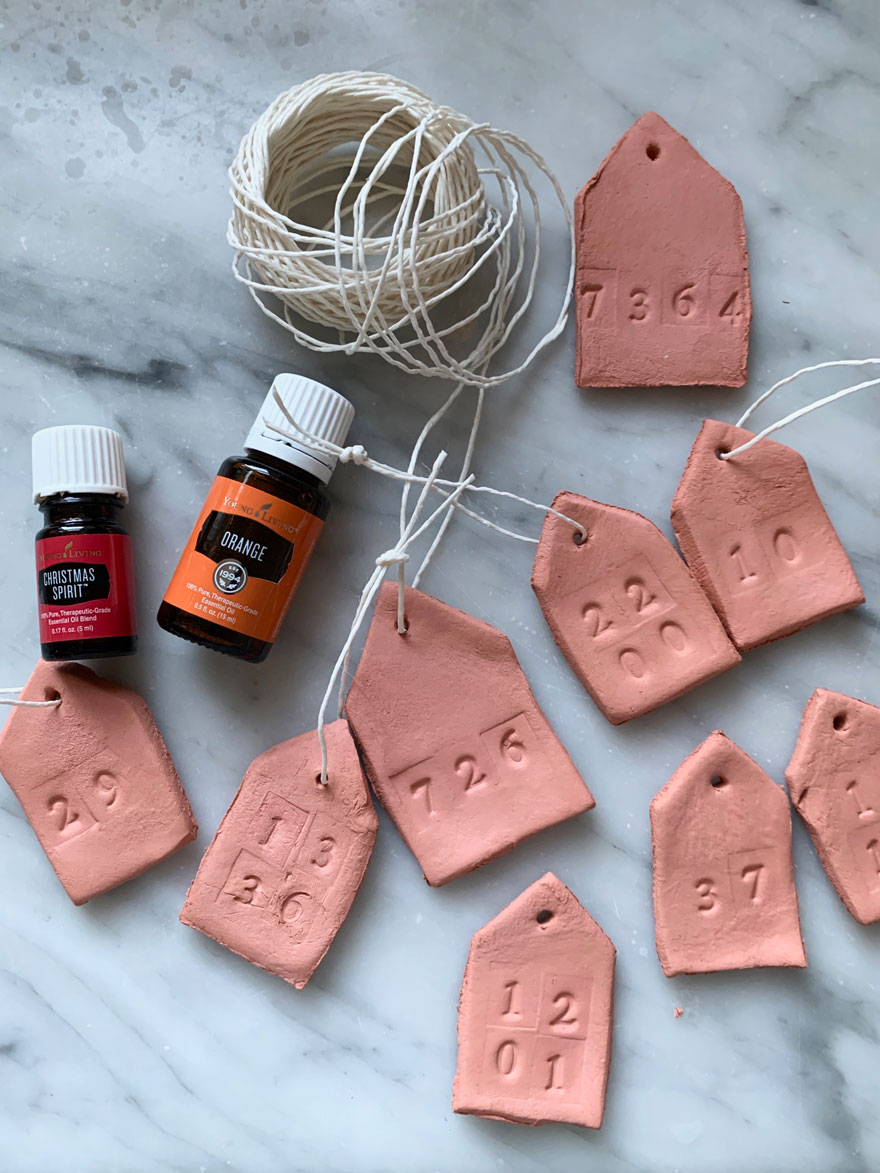 clay tags with essential oils