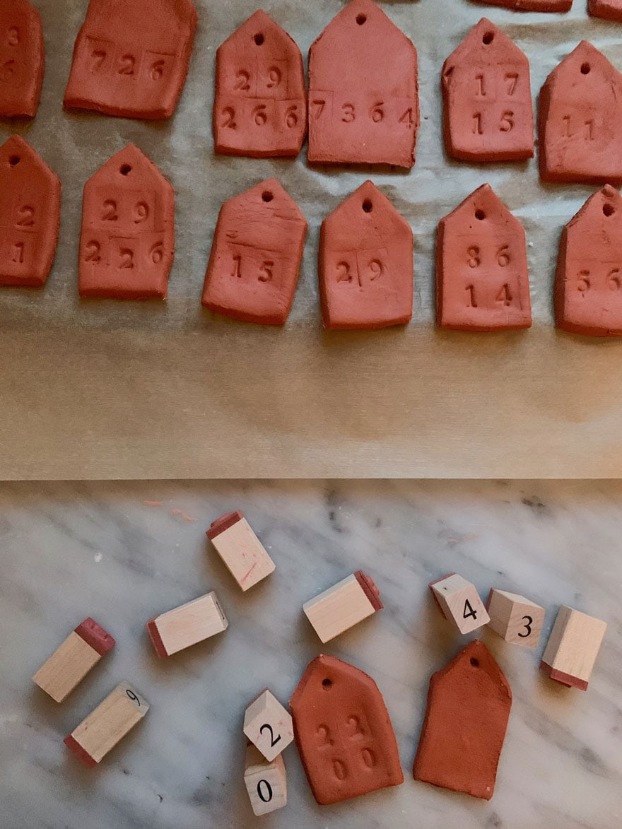 clay tags and stamps