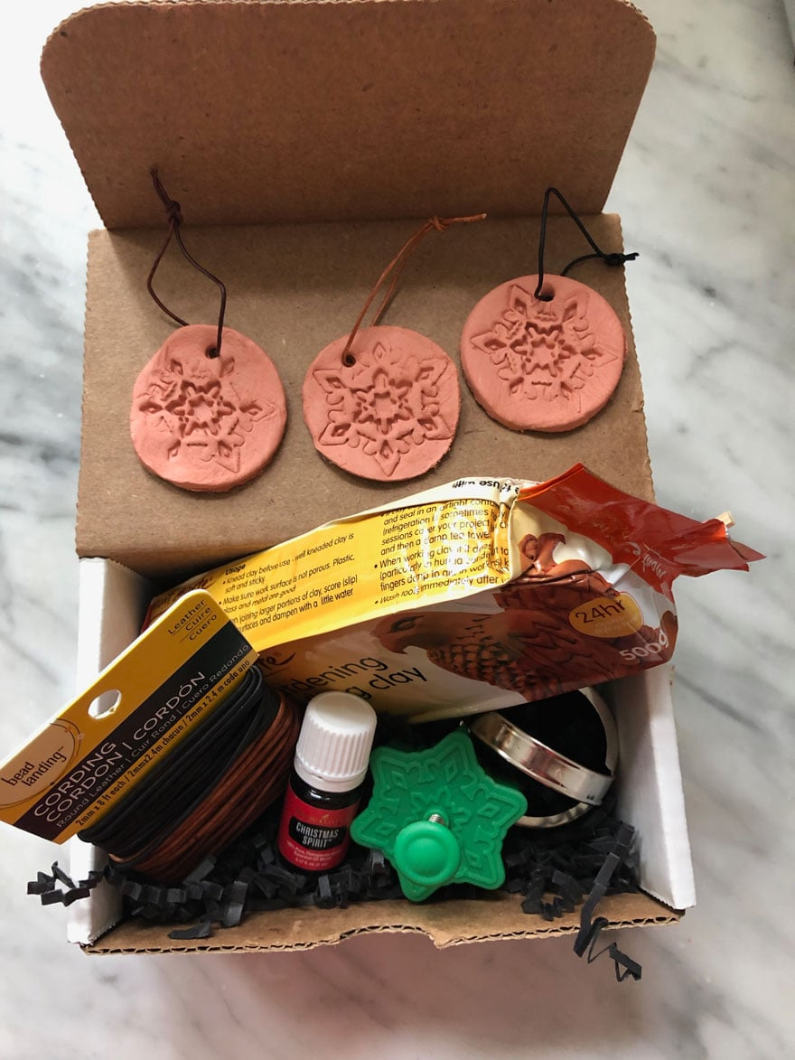 box with kit for making ornaments