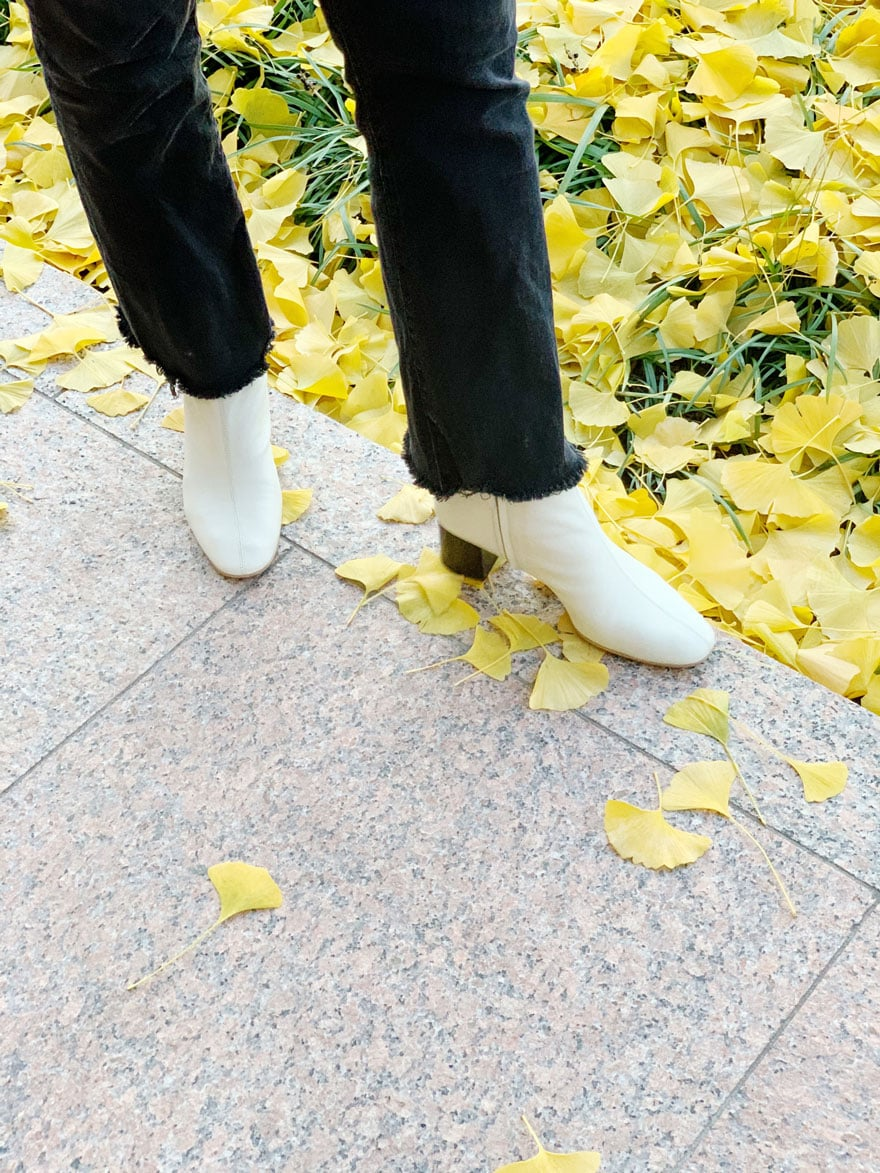 white boots, black jeans, ginko leaves in fall yellow