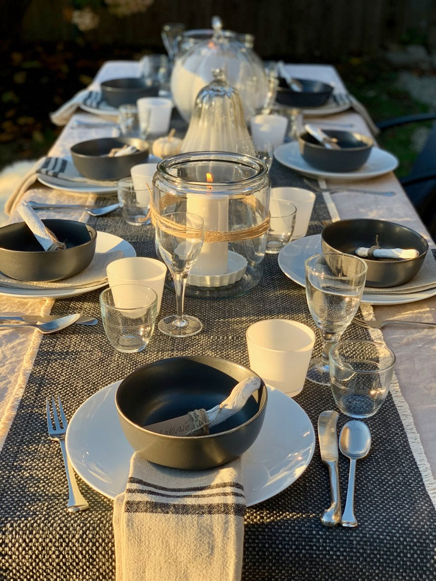 placesetting on outdoor table