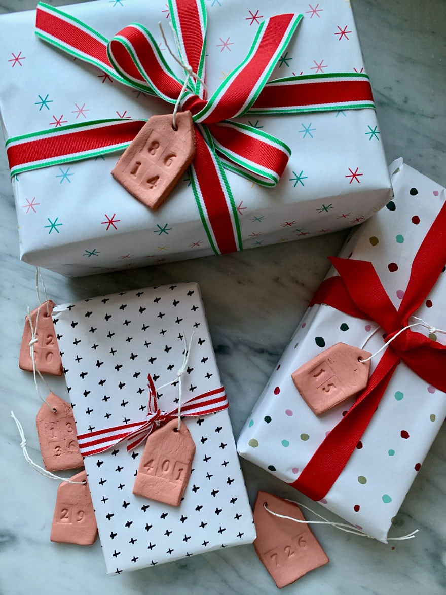 gifts wrapped with tags and ribbon