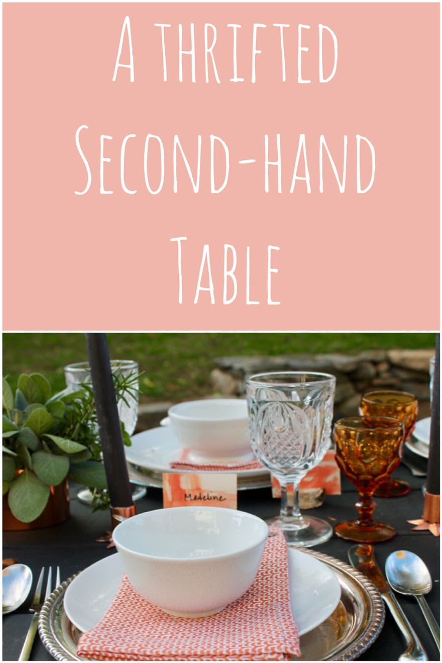 placesetting with herbs and vintage glassware