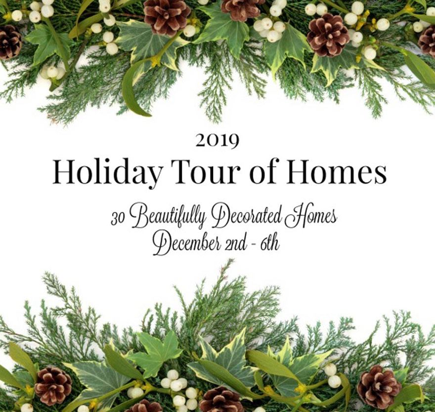 holiday home tour text with greens