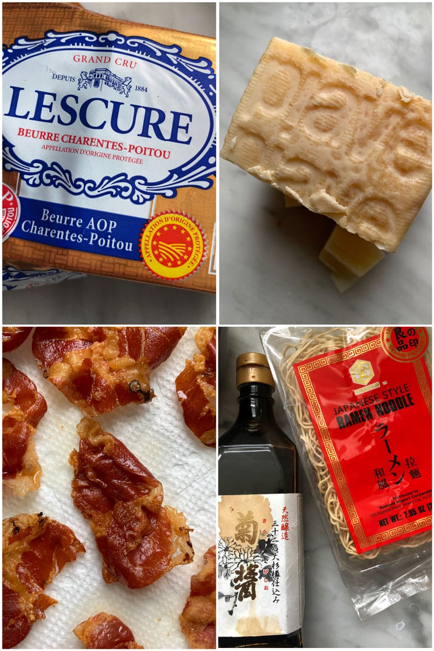 ingredient collage, butter, bacon, ramen, cheese