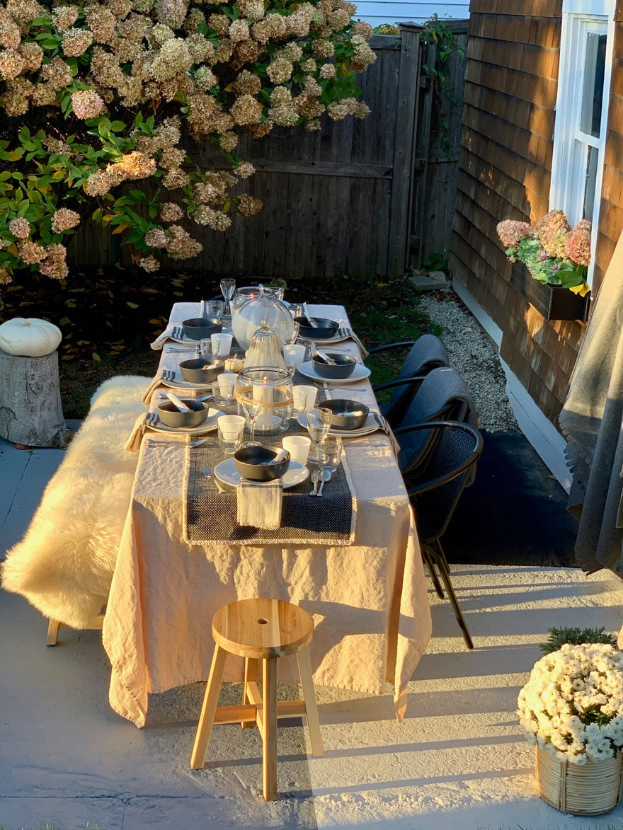 table outside set afternoon light