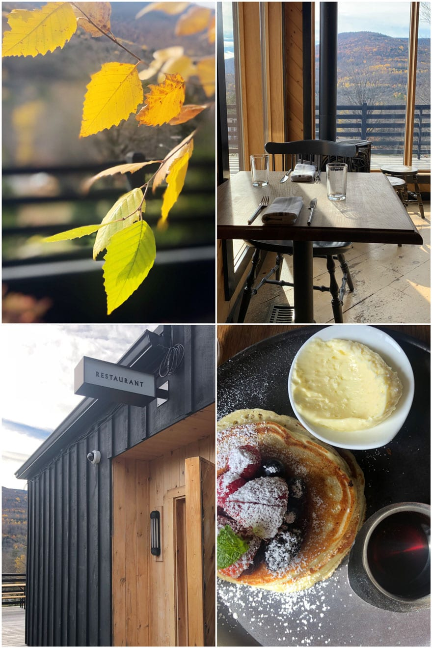 collage with fall leaves, sign, table, food