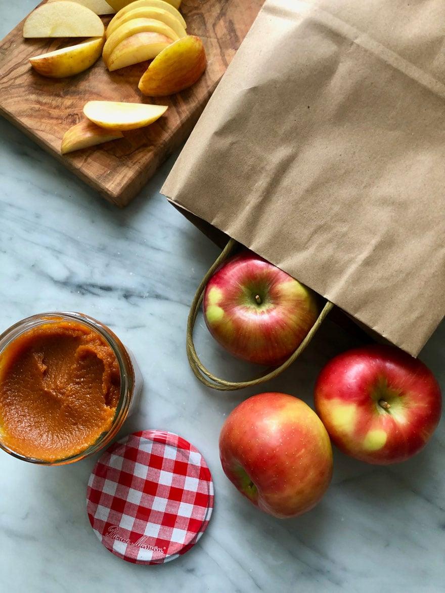 apples, bag, jar