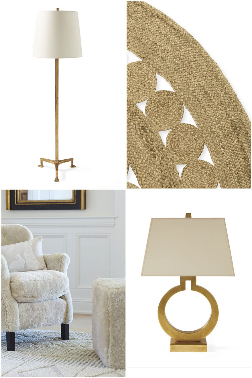 collage with lamps, rugs