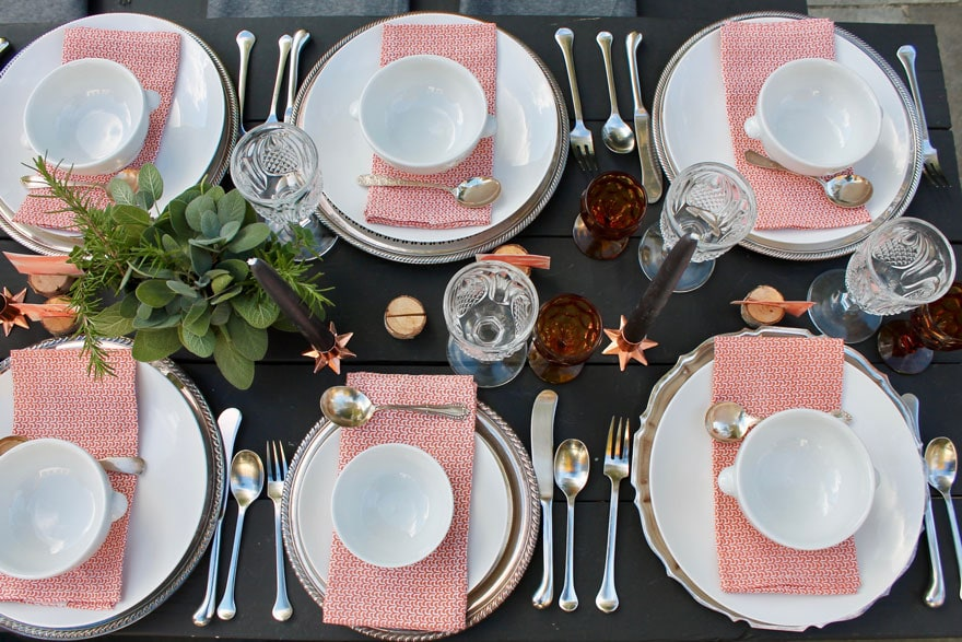 dishes, plates, glassware, herbs, candles