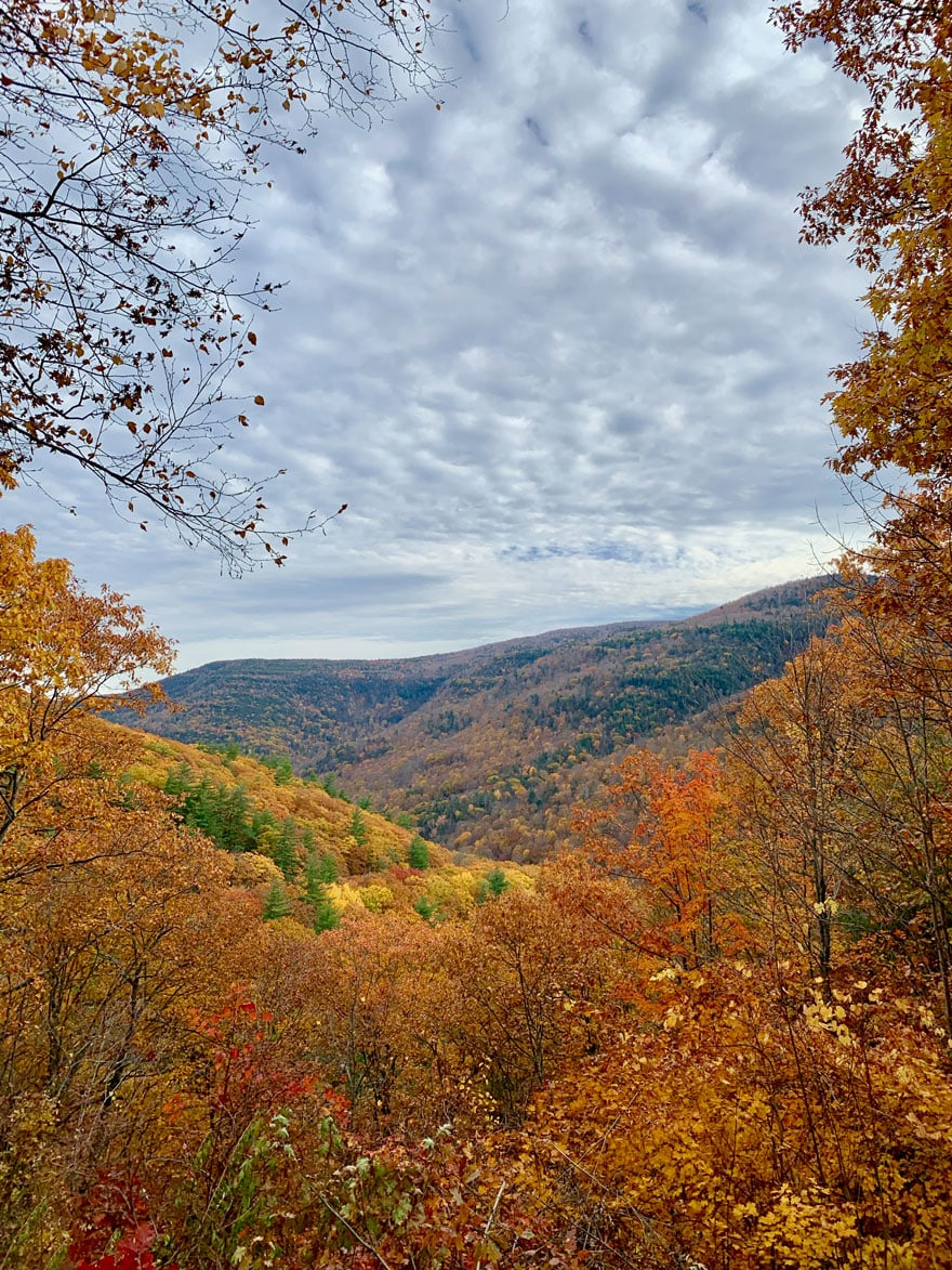 mountains, leaves turning colors in the fall, clouds