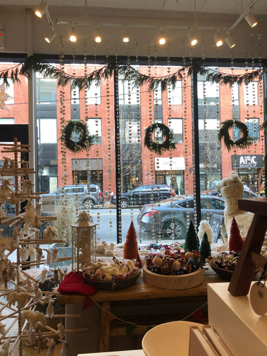 Windows with garland and wreaths in New York