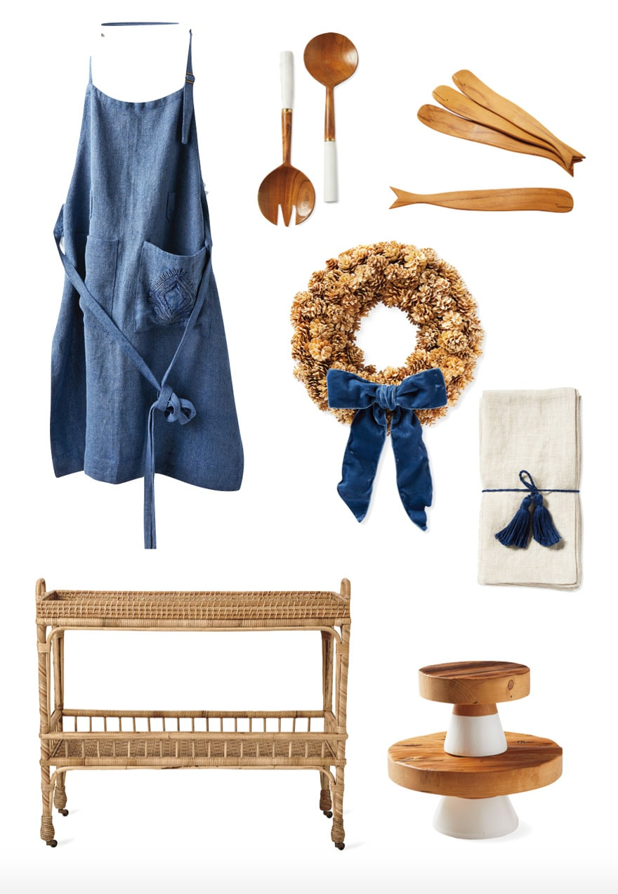 collage with apron, wreath, bar cart, napkins