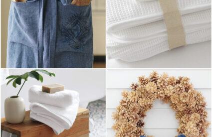 apron, stool, towels, pine cone wreath with bow