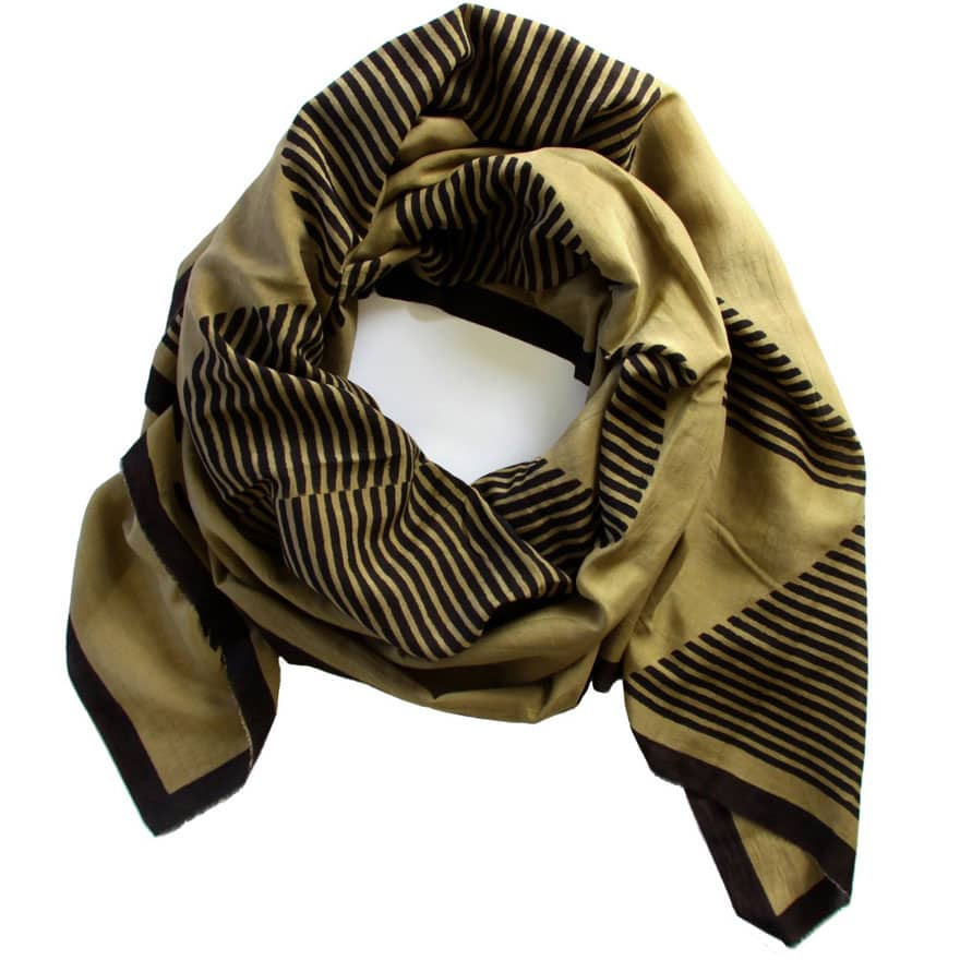 tan and black scarf on white