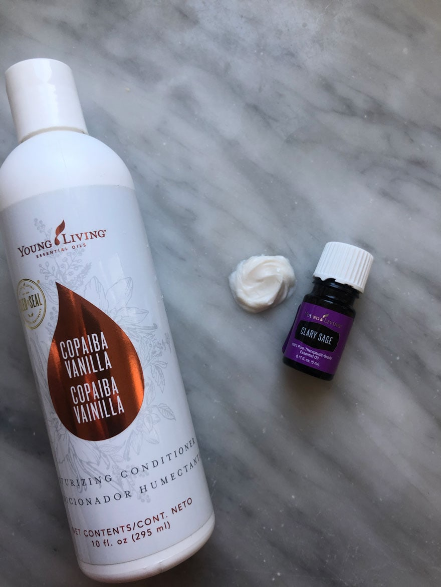conditioner bottle with essential oil bottle