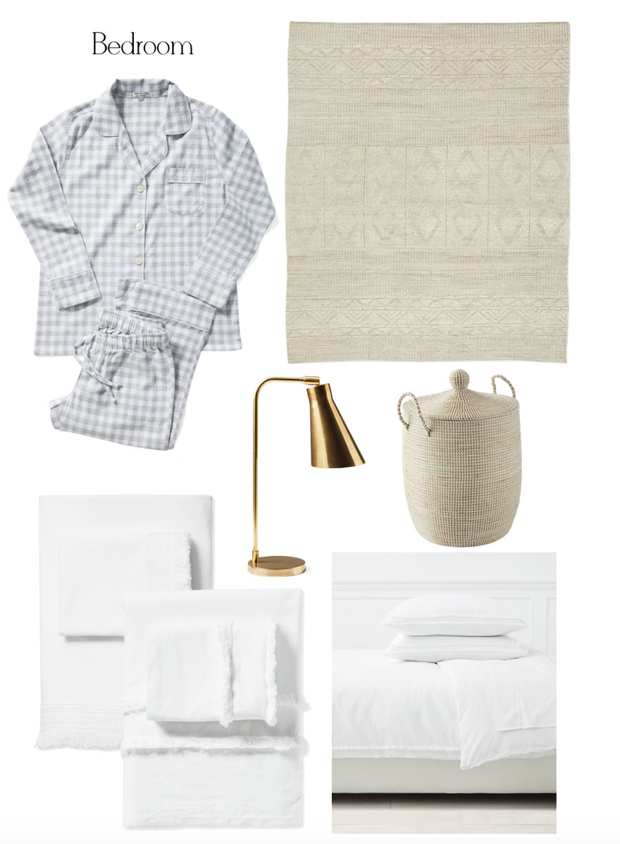 pajamas, rug, lamp, sheets and basket on white background