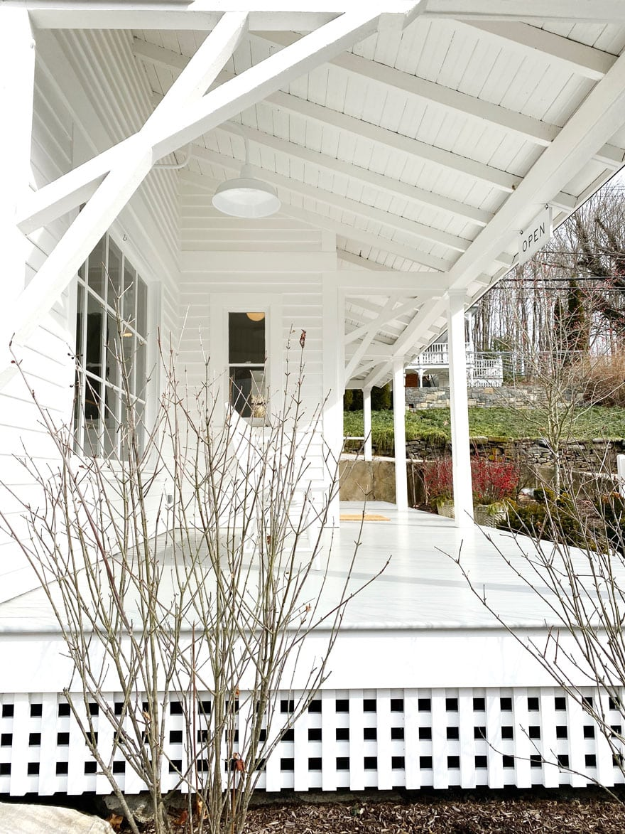 porch exterior in all white, winter