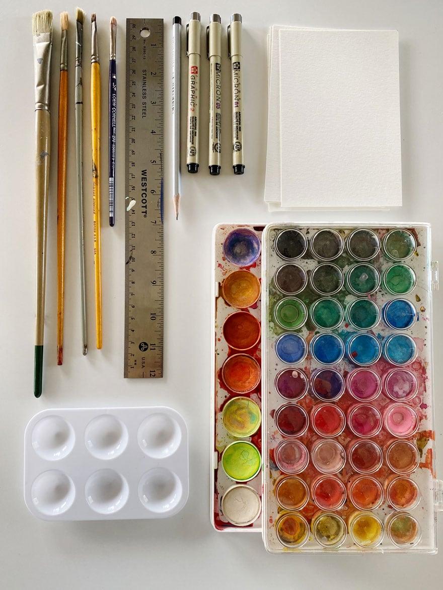 art supplies on white background