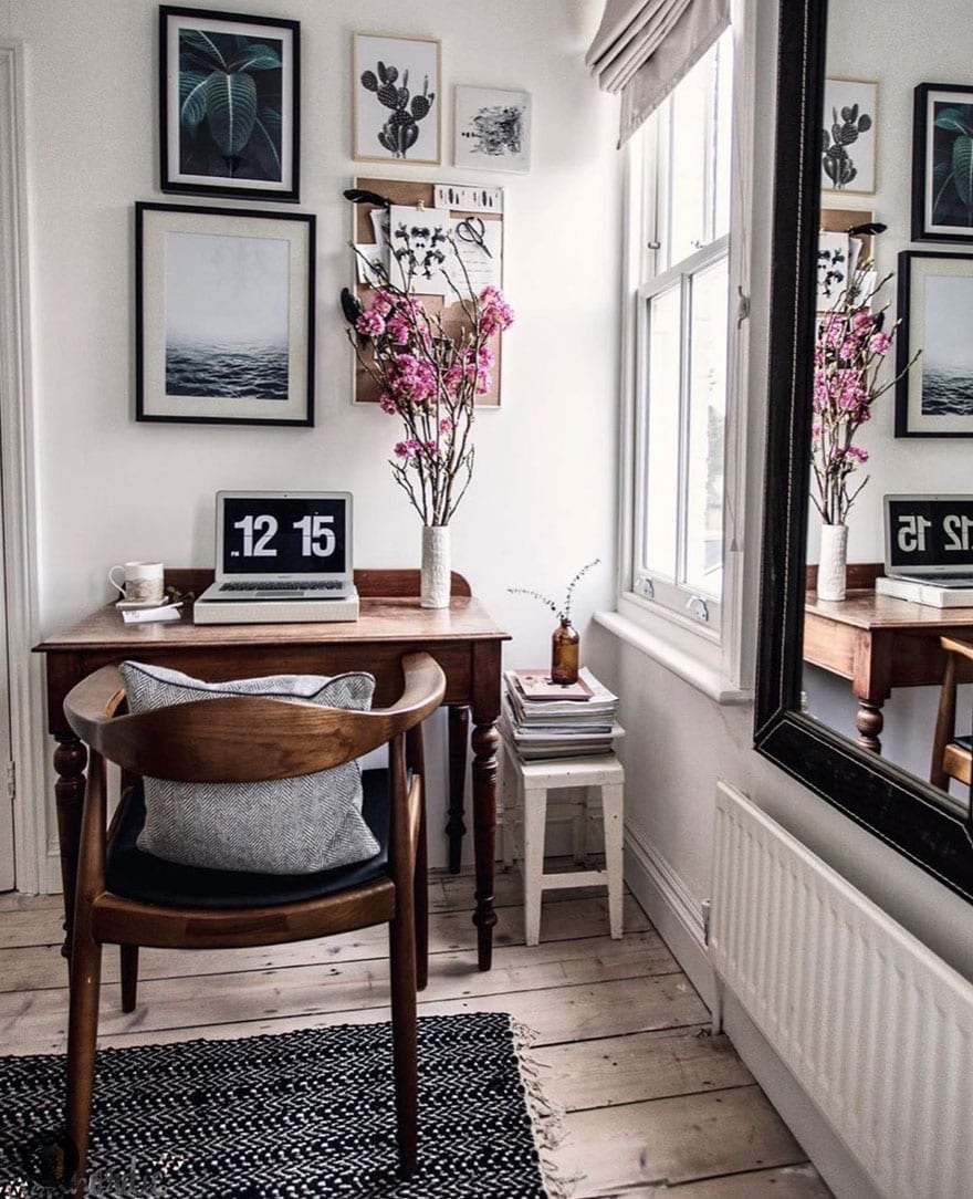 desk, flowers, chair, large mirror