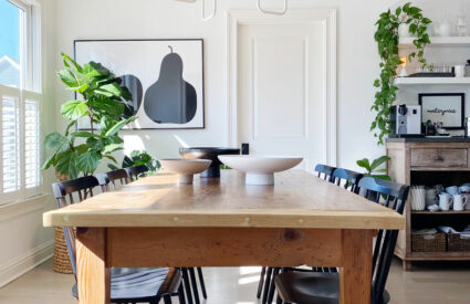 table, black chairs, plants