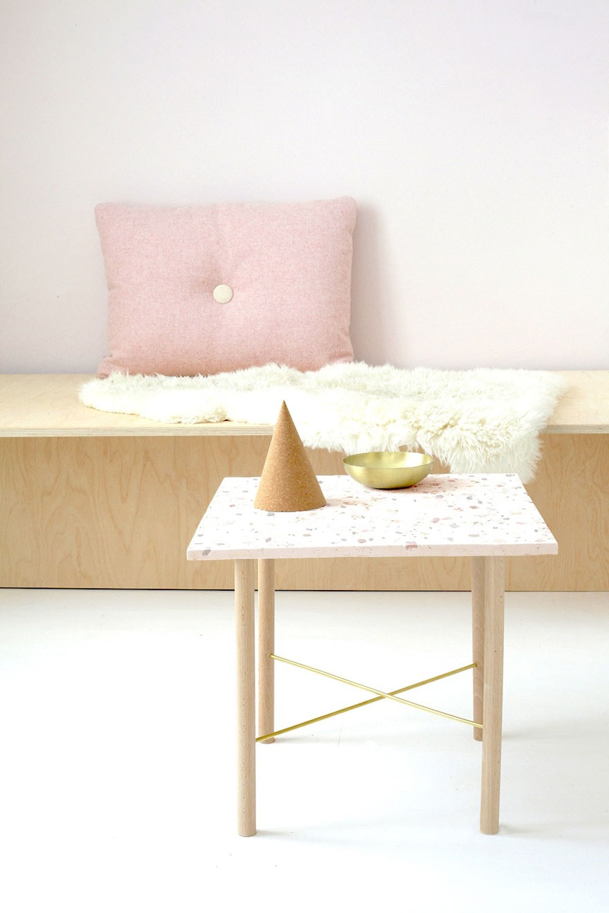 Terrazzo tile table in pastel with pink pillow