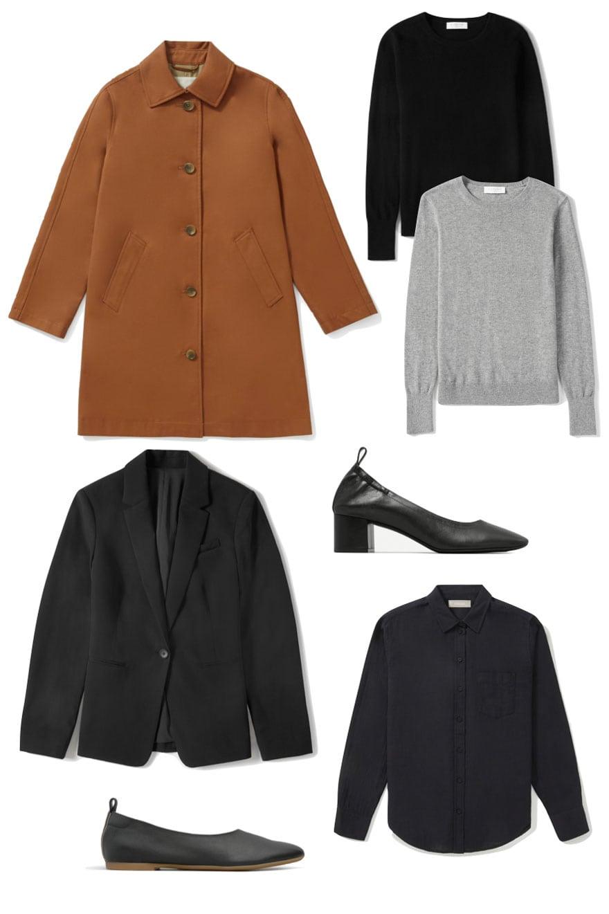 clothing, coat, sweaters, shoes on white background