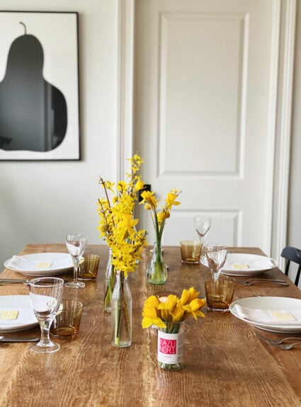 A spring brunch table and menu