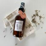 lavender room spray in bottle with bag