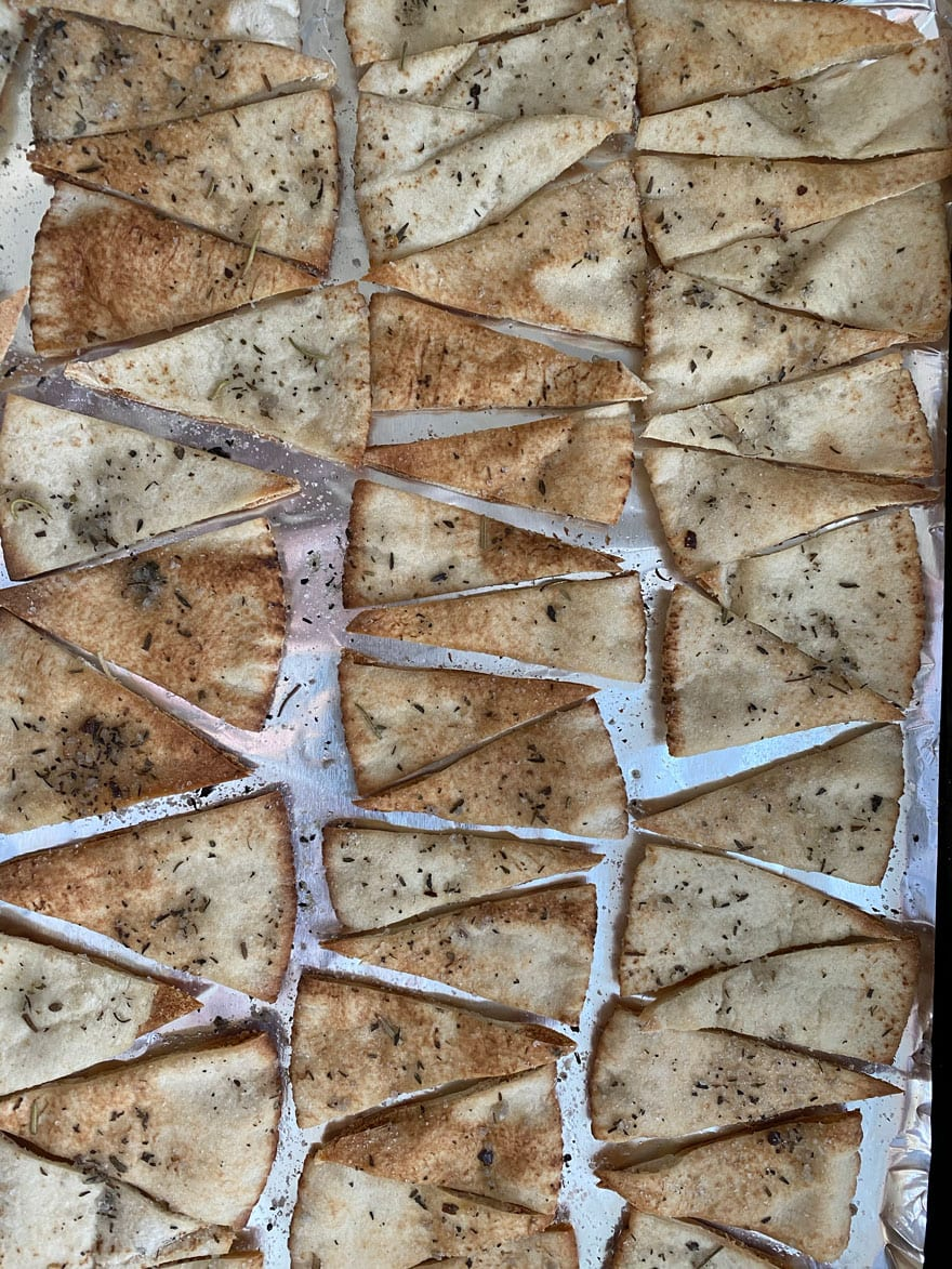 pita chip triangles on foil