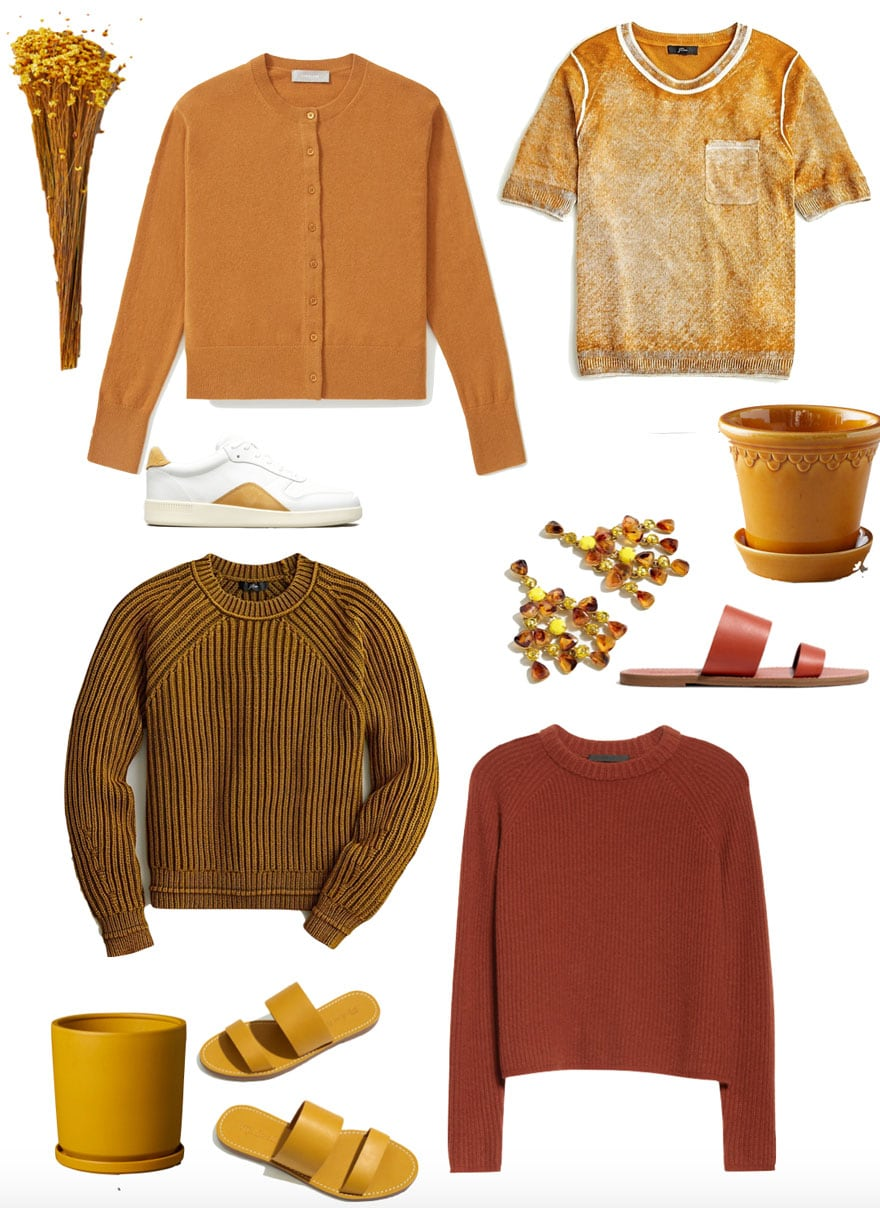 sweaters, planters t-shirts, earrings, in shades of yellow and rust on white background