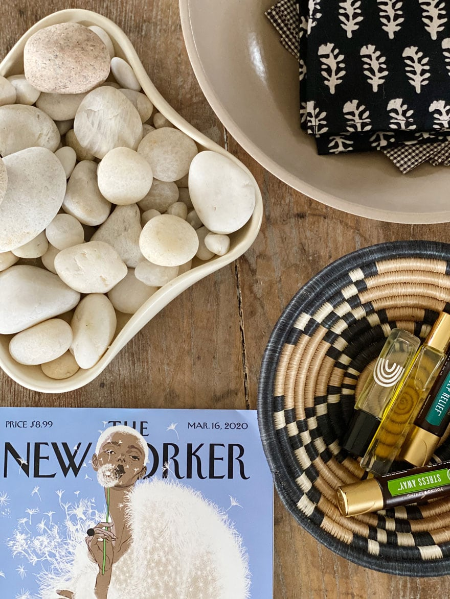 beach stones, The New Yorker Magazine, essential moils, napkins in bowl on table