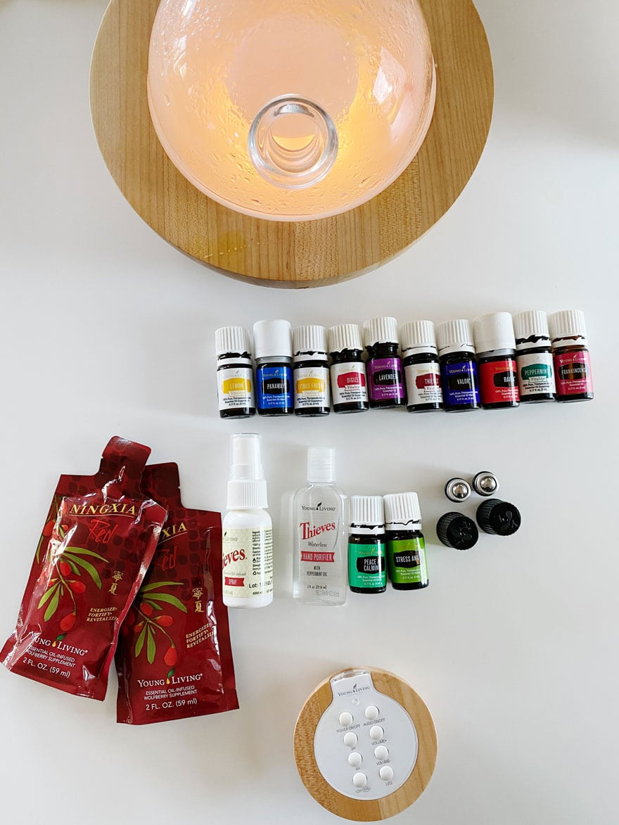 glass and wood diffuser oils, drink packets