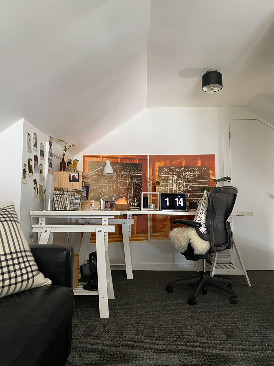 desk, chair, wall decor
