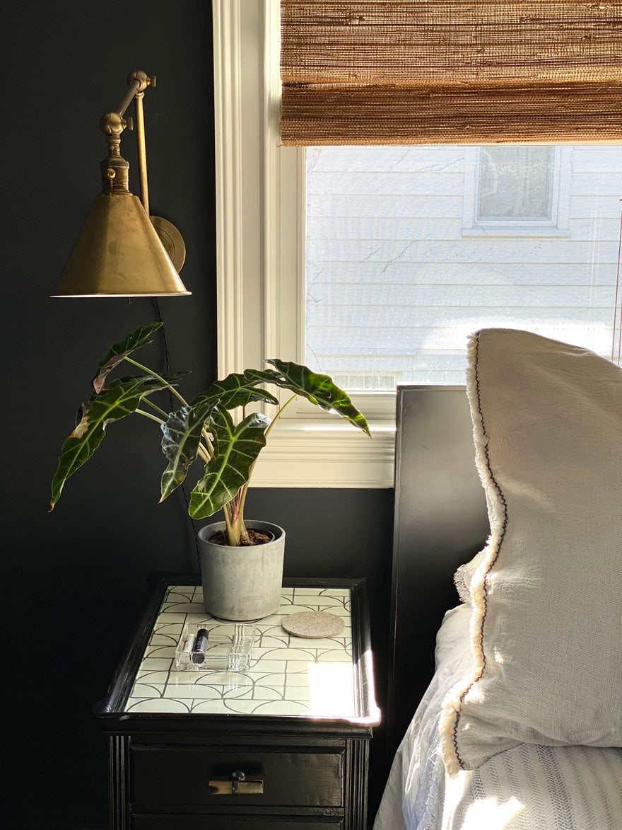 a brass sconce on black wall beside a bed with a night table with a plant
