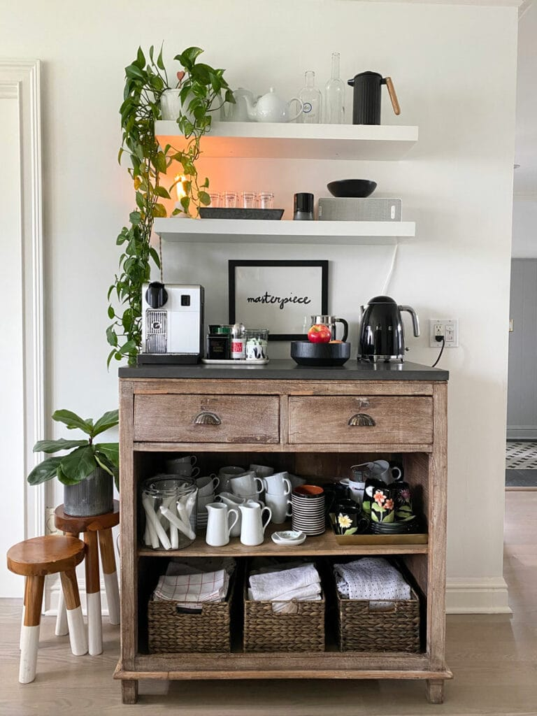 coffee bar with stools, plants