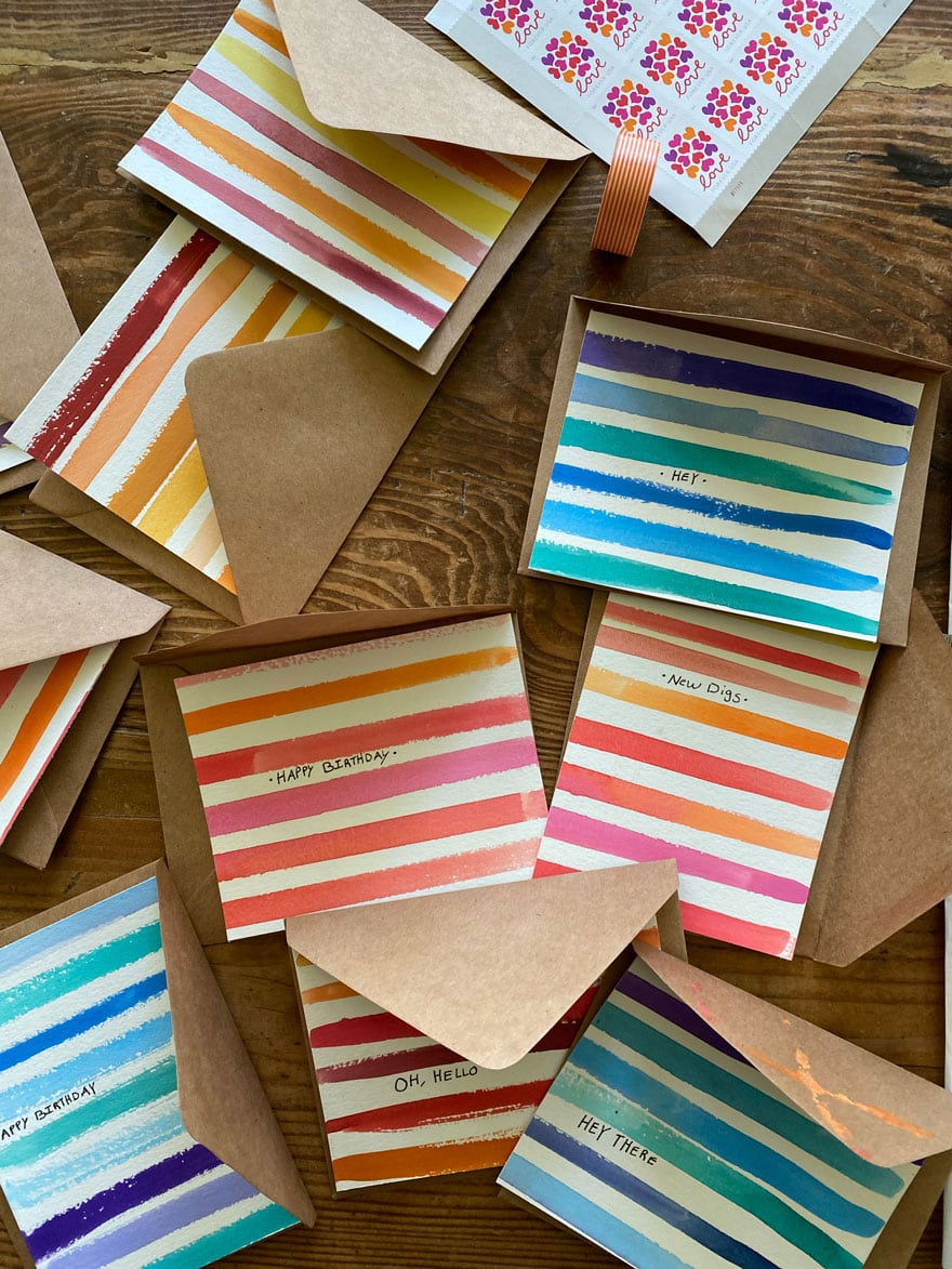 striped cards and Kraft paper envelopes