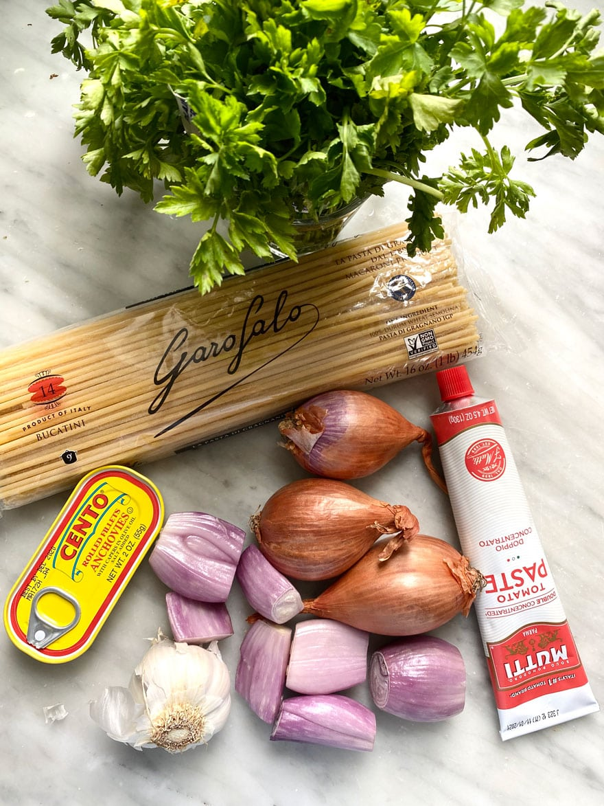 ingredients, spaghetti, shallots, tomato paste tube, parsley