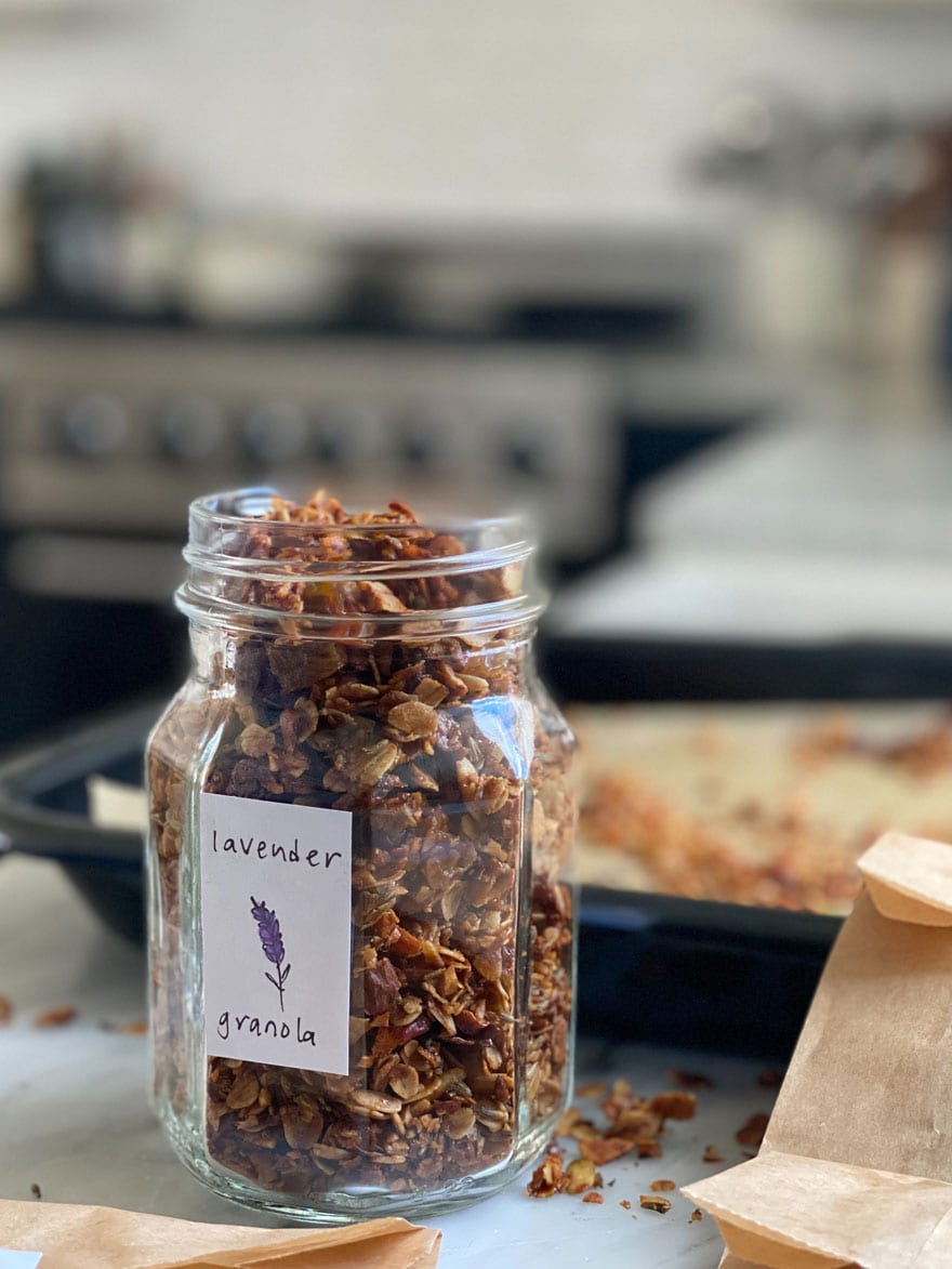 jar of granola with homemade label