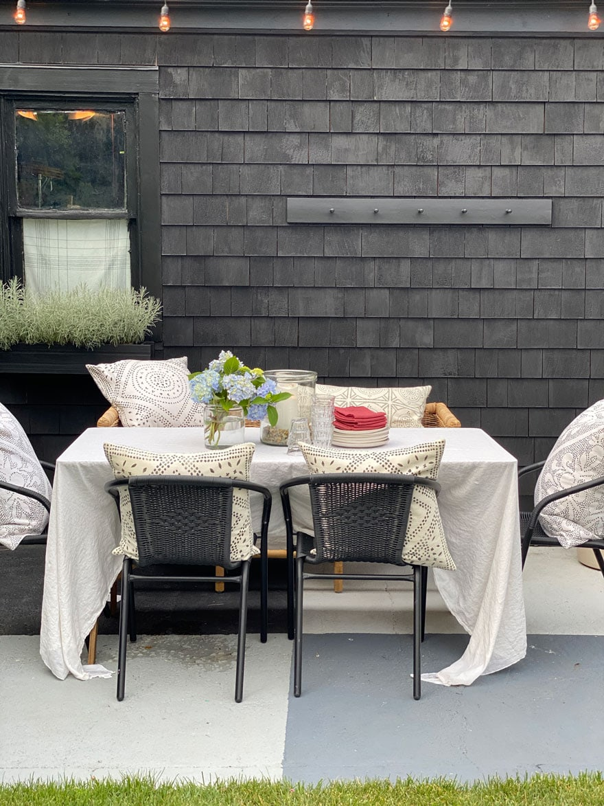 outdoor table set up for party