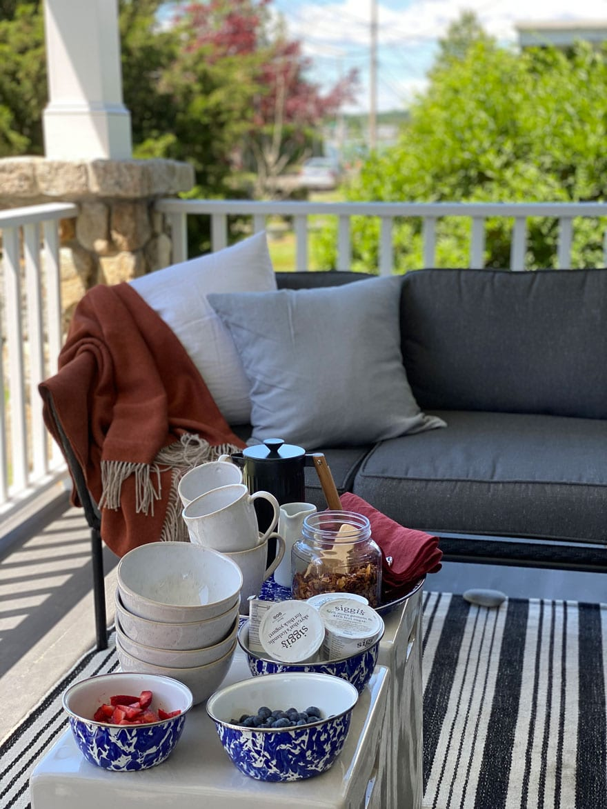 porch, furniture, breakfast, coffee mugs