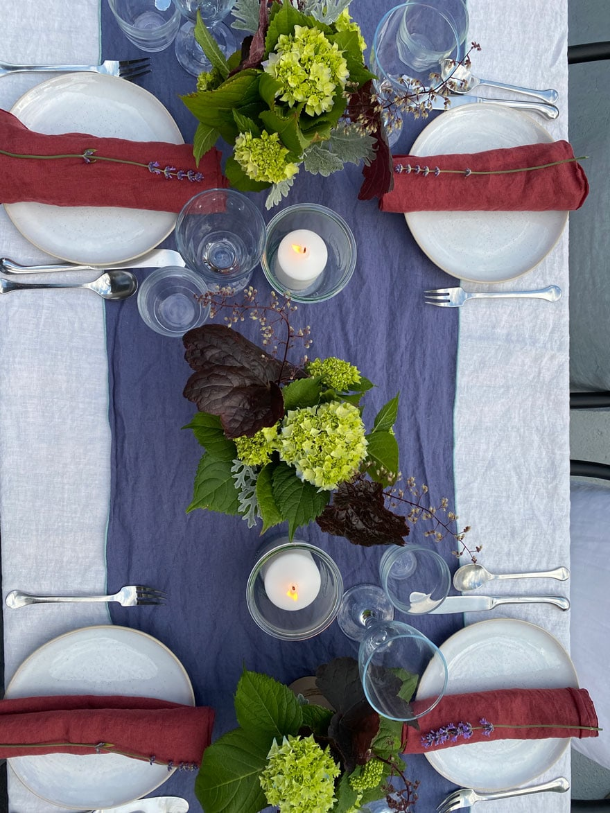4th of July red, white and blue table set up for dinner party
