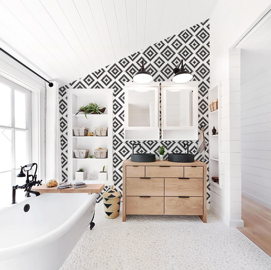 bathroom with large tub, wood vanity, black and white wallpaper with built-in shelving in white