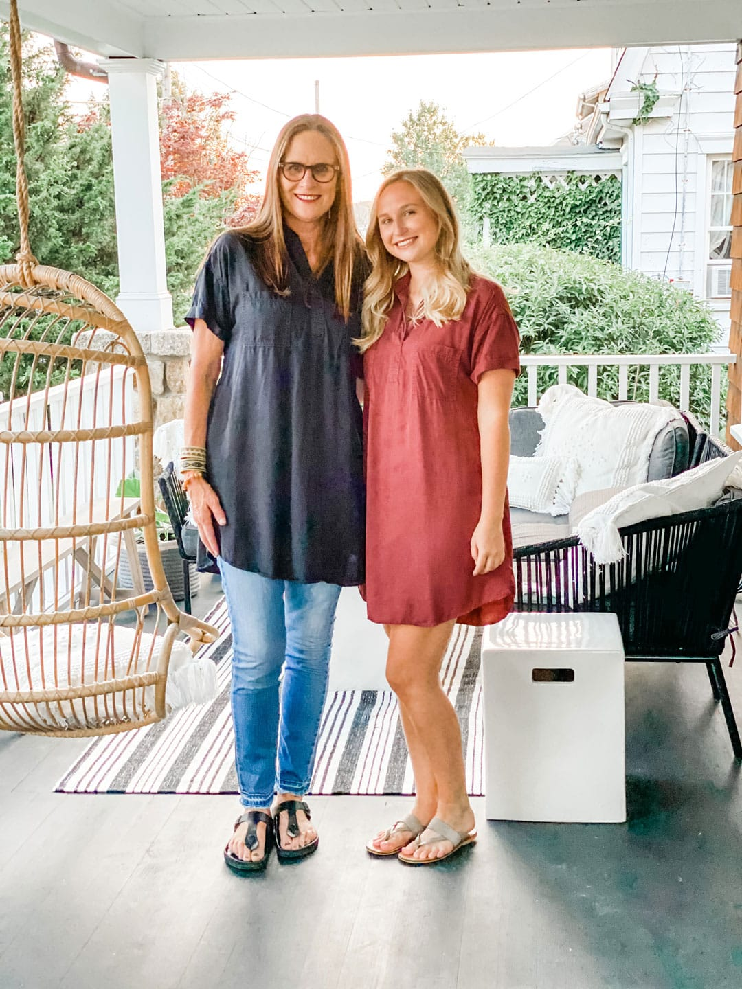 lifestye blogger Annie Diamond with her daughter wearing a target dress