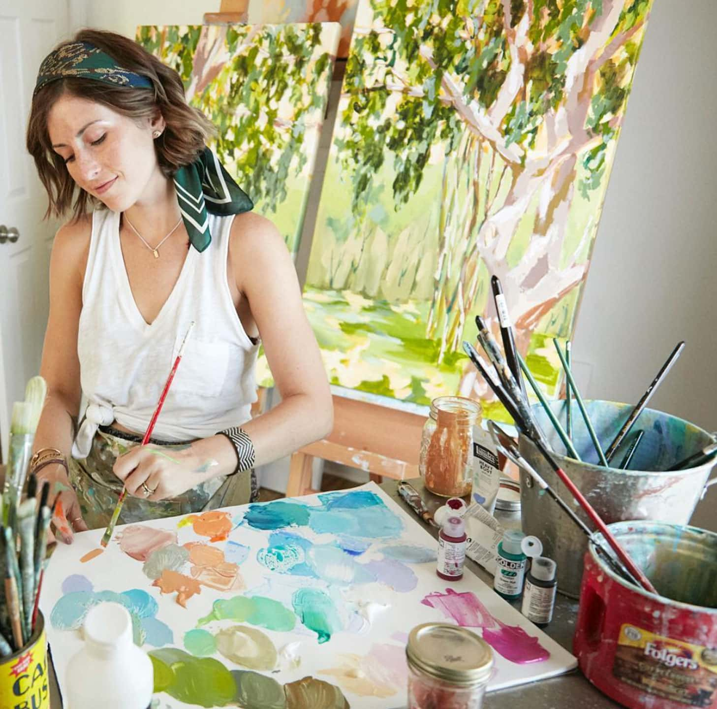 Lizzy Love in her art studio