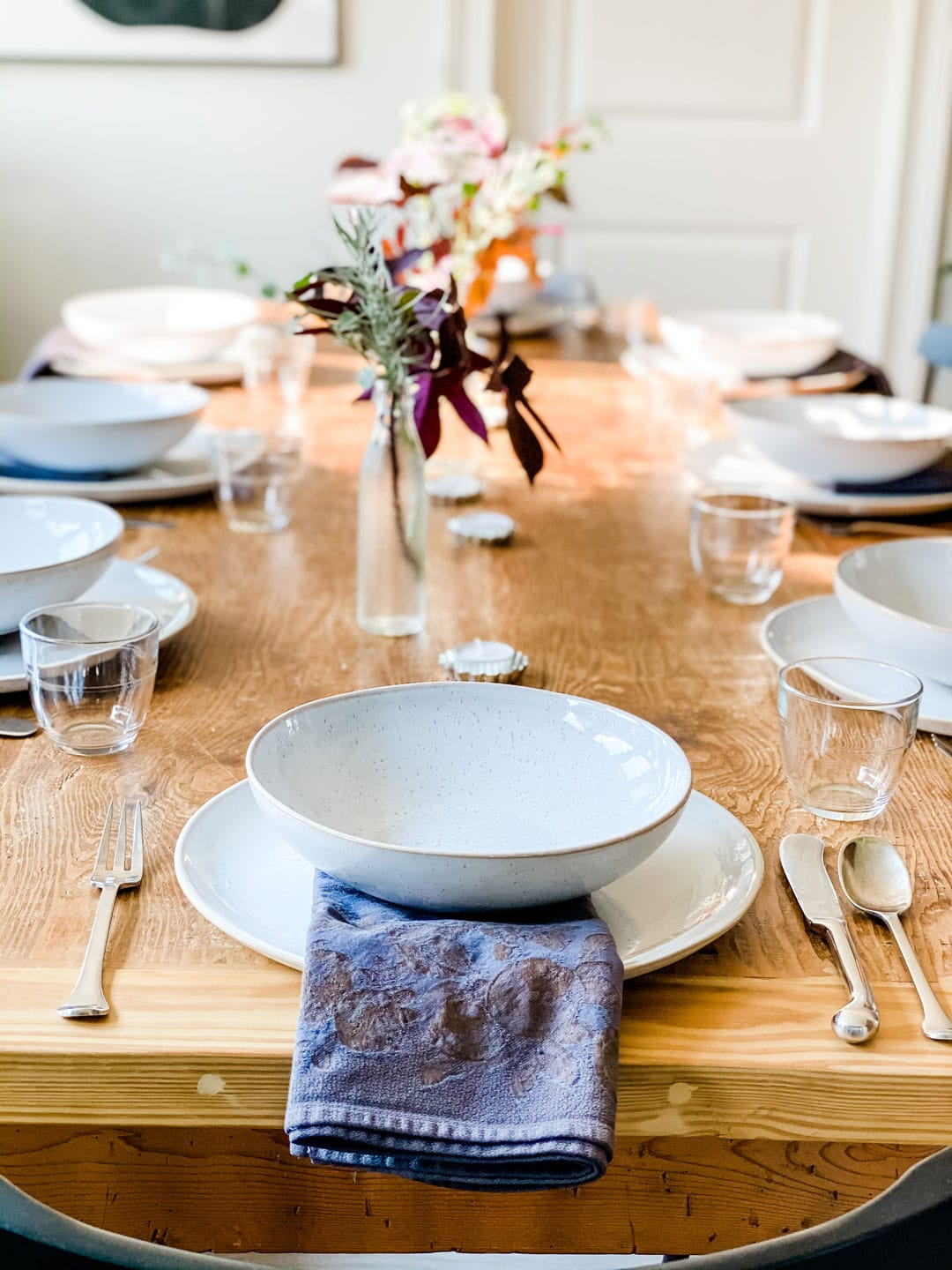 Lifestyle blogger Annie Diamond shares how she dyed some 30 year old napkins using black RIT dye